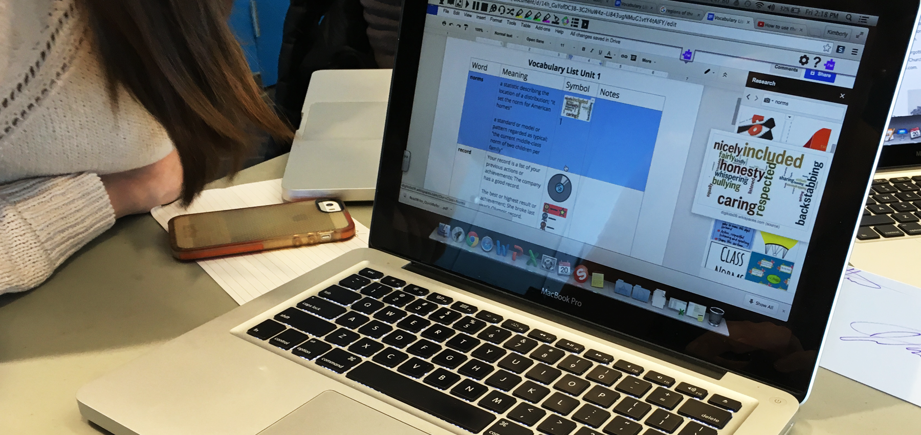 Read&Write vocabulary activity on a Macbook