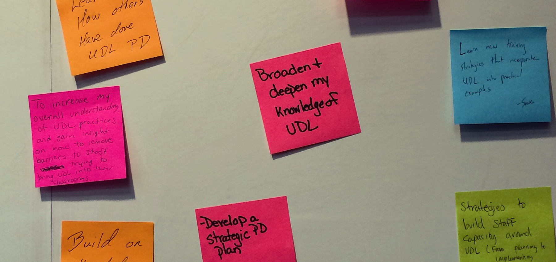 Colorful post-its showing UDL goals